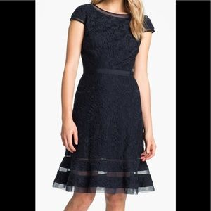 Adrianna Papell Navy Blue Fit & Flare Mesh Dress